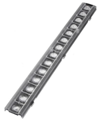 Linear lens for retail lighting 279x29x8.1mm, ~90° beam, clip fixing