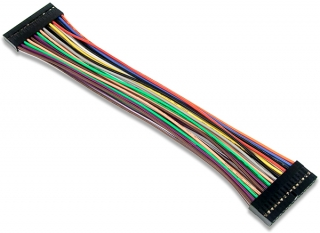2x15 keyed female connector with all 30 color-coded signal wires connected to a second 2x15 female connector; 196.8mm length; for Analog Discovery or