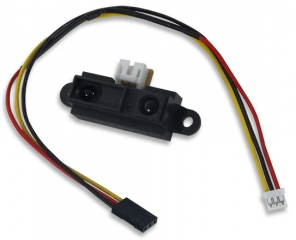 "For use with Cerebot™ boards; Measuring range: 10-80 cm; Supply: 4.5-5.5V/30mA typ.; Includes 10"" 3-wire cable"