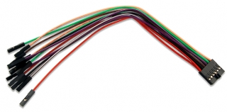 2x6 keyed female connector; 2 VCCIO_USR(red) + 2 GND(black) + 8 signal wires(colored); 170±5mm; The same also ships with Digital Discovery