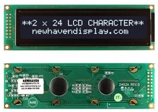 24Х2 LCD, FFSTN Negative, English and Japanese Font, Transmissive, 6:00, 118x36x13.6mm, 5.0V, White Text/Black Background