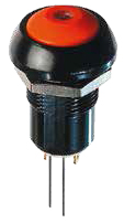Pushbutton for Harsh Environments, SPST Latching, OFF-ON, 2A/125VAC, 4A/12VDC, Panel, Actuator blue, LED Super Red, IP67