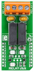 Board with 2xG6D1AA-SI-5DC relay modules, controls up to 5A, 250VAC/30VDC loads, communicates via mikroBUS PWM
