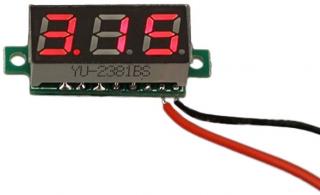 """0.28"""" LED digital DC voltmeter; Voltage range: 2.4~ 30V;Accuracy: 3%; 30x11.7x9.2mm"""