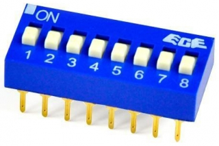 DIP  switch 4P(joint actuator), 4P(together)ST, ON-OFF, 24VDC, 25mA, TH