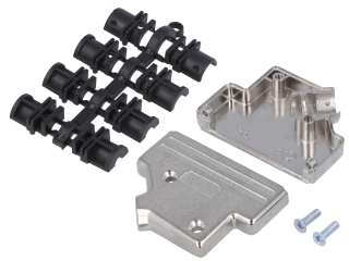 Metal D-SUB Cover for Canon 25-way(normal density), Nickel Plated, Cable(Side Entry) O.D. 13mm max