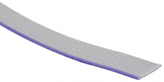 """Flat Ribbon Cable, Unshielded, Gray, 10 Conductors AWG30, Pitch 0.025""""(0.64mm), Cut to Length 304.8mm"""