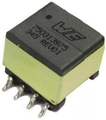 SMPS Transformer for DC/DC Flyback Converters, Vin 8.0-32V, Vout 2x12V, Turns Ratio 1:1/1:1, Lin 9.0uH, Visol 1.5kVAC