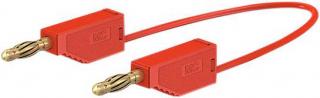 Кабел банан щекер 4мм, 32A 60VDC, 25см червен, с допълнителни 4мм гнезда
