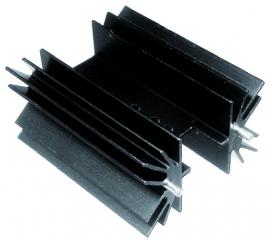 Heatsink W41.6xH25xL38.1mm, 5K/W, Black Anodised, Package Cooled:TOP-3/TO-220/SOT-32…