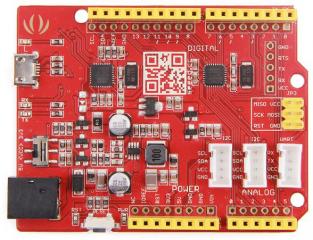 ATmega328P MCU; Arduino UNO bootloader; Arduino UNO-R3 Shield Compatible; 14 Digital I/O (6 PWM outputs); 6 Analog Inputs; ISP Header