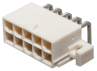 Series MiniFit Jr. Header, P4.2mm, TH 10 Positions, Right-Angle with PCB Mounting Flange, 13A/600V