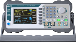 """Programmable 2-channel Signal Generator; 1nHz to 80MHz / ±5ppm; 1-channel counter; Sampling Rate 300 MS/s; Vertical Resolution 14 bits; 3.5"""" TFT LCD"""