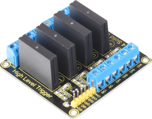 4-channel Semiconductor Relay Board with Omron SSRs; 2A/240VAC; Supply voltage 5VDC; Compatible with Raspberry Pi, Arduino, etc