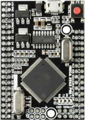 Arduino MEGA2560-compatible Evaluation Board based on ATmega2560; 54 digital I/O (incl. 15 PWM); 16 analog inputs; USB; ICSP header; Power jack; Reset