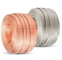 Soft tinned copper wire flat braid, 16x8x0.15mm, CSA 2.26mm?, 30A, 7.83Ohm/km, 26.14kg/km, SPOOL 25M.