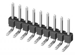 съединител щифтов, височина на щифта 6,0mm, 1x20, ъглов за платка TH, Р2.54мм