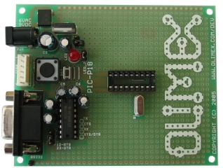 DEvelopment prototype board for 18 pin PIC microcontrollers