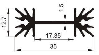Aluminium Profil Heat Sink L30xW35xH12.7mm