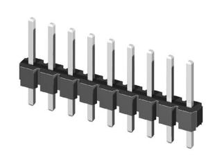 съединител щифтов, височина на щифта 6,0mm, 1x7, прав за платка TH, Р2.54мм