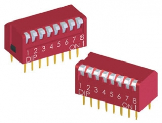 DIP switch with Long Key 8p SPST ON-OFF, right angle, Red