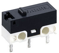 Microswitch w/Lever, 3p R/A, SPDT momentary, 3A/125V, 12.7x5.8x6.5mm