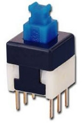 Push sw. 6p DPDT ON-OFF 0.1A/30V 8x8x13.5mm