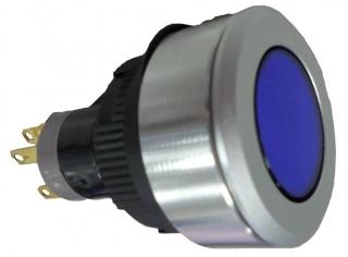Socket, flush mount, mom. 1NO+1NC BLUE LED 30mm round