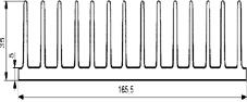 Aluminium Profil Heat Sink L50xW165.5xH35mm S429