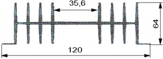 Aluminium Profil Heat Sink L70xW120xH64mm S4382