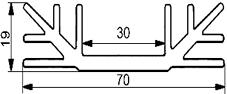 Aluminium Profil Heat Sink L70xW70xH19mm S4463