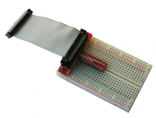 A DUINOMITE GPIO extension board perfect for breadboarding