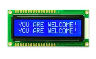 16x2 LCD STN Blue Neg. 80x36x14mm white B/L LAT+CYR