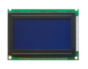 128x64 pix, 75x53x8mm, STN Blue 5V, white LED B/L