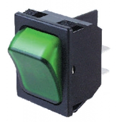 DPST ON-OFF 30.2x22.2mm 10A/250Vac Green NEON