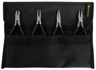 4-piece set ESD pliers BLACKline, with dissipative black dip insulation
