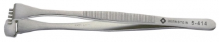 Wafer tweezers, 130 mm, with graduated lower paddle and 5 teeth