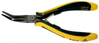 Snipe nose pliers EUROline, 140 mm, long plain jaws, angular, dissipative bicoloured hand guard