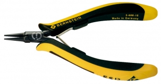 ultra slim flat nose pliers EUROline, 130 mm, conductive bicoloured hand guard