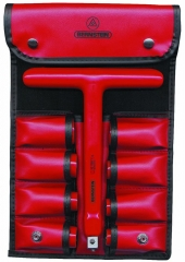 9-piece set of sockets with T-socket wrench in red imitation leather case